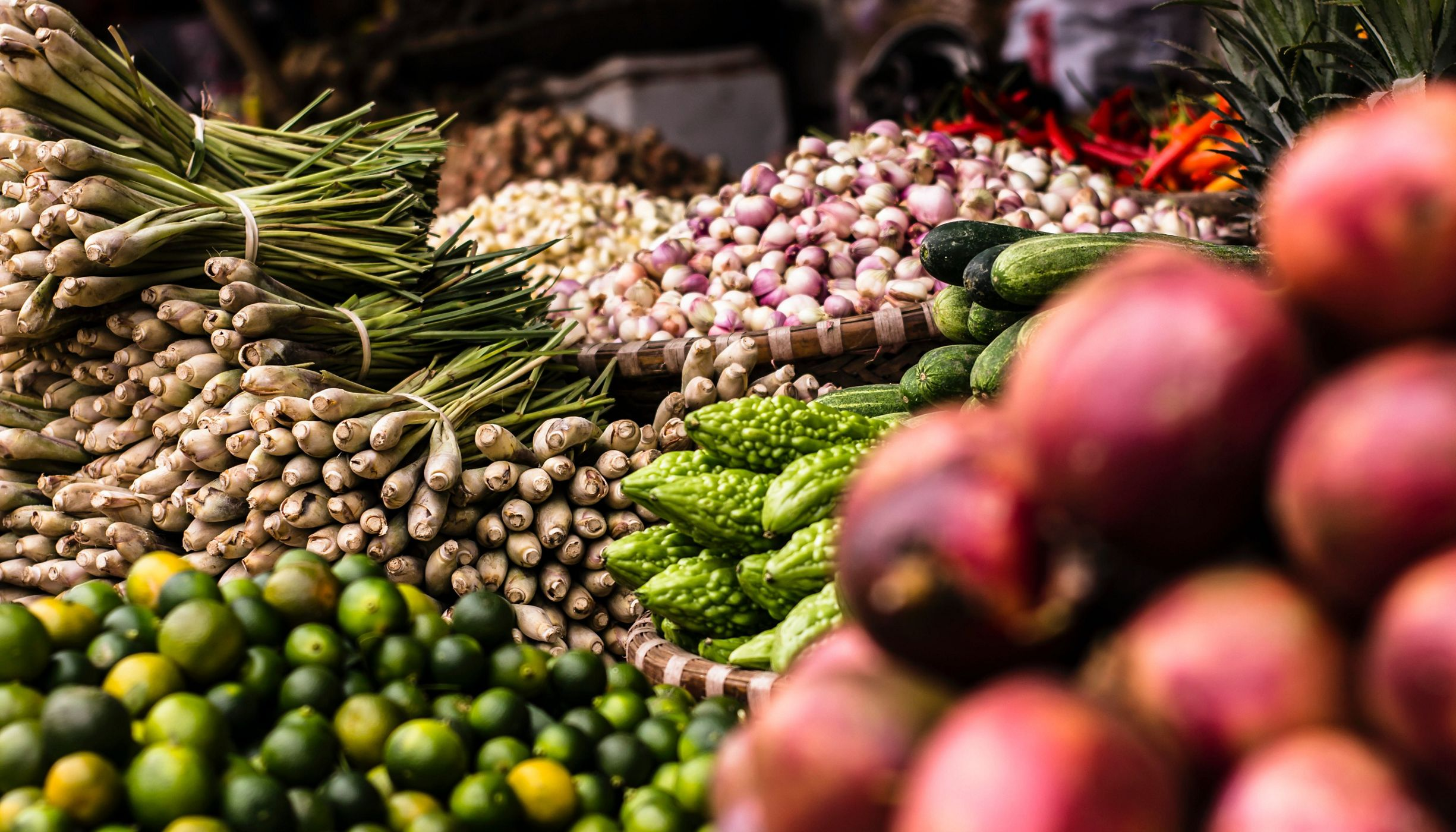 A variety of vegetables for sale at a fresh market in Vietnam