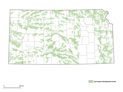 Map of Kansas with portions colored in green to identify low-impact wind potential.