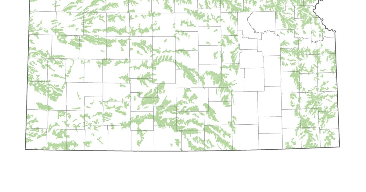 Map of Kansas with portions colored in green to identify low-impact wind potential