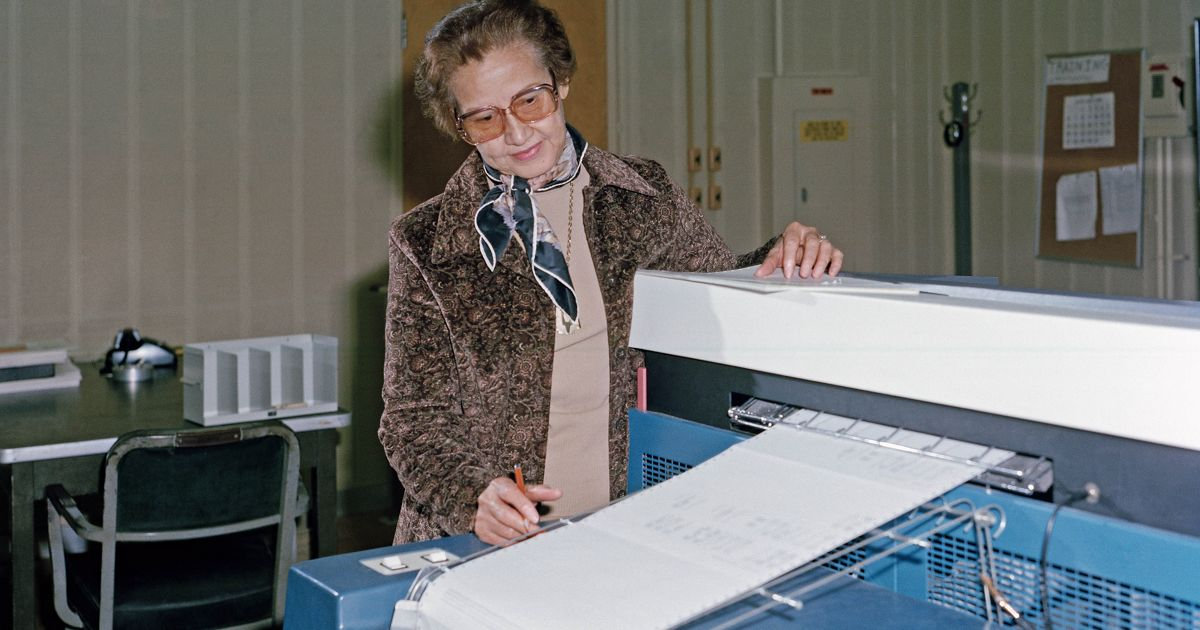 NASA research mathematician Katherine Johnson is photographed at work at NASA Langley Research Center in 1980.