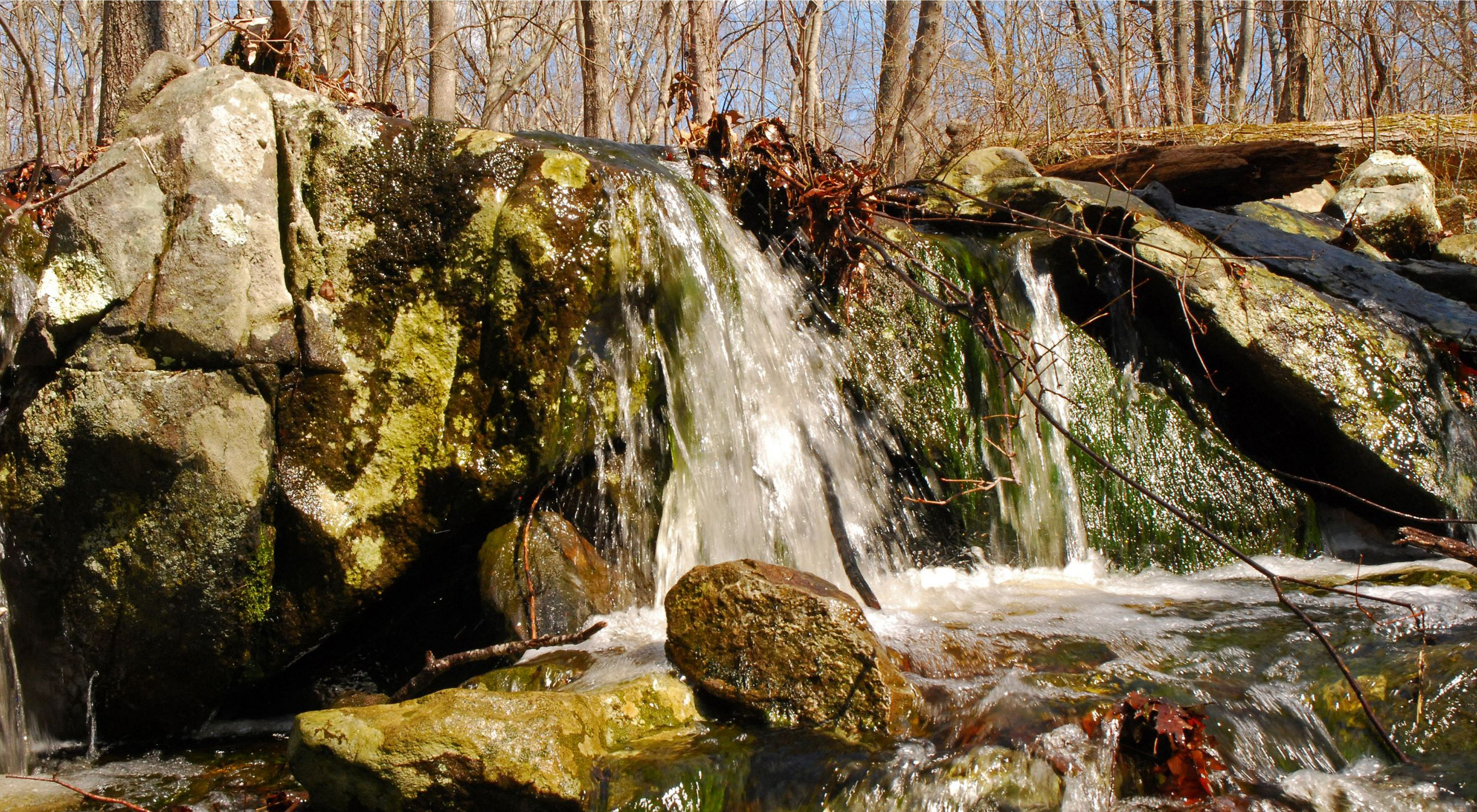 Close-up of a small granite outcrop with water from a seasonal stream spilling over the top.