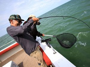Fishermen pull their catch from Lake Erie.