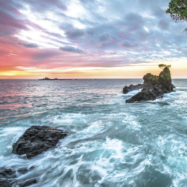 Long exposure of the sunset over the Pacific Ocean on the west side of the Osa Peninsula, Costa Rica.