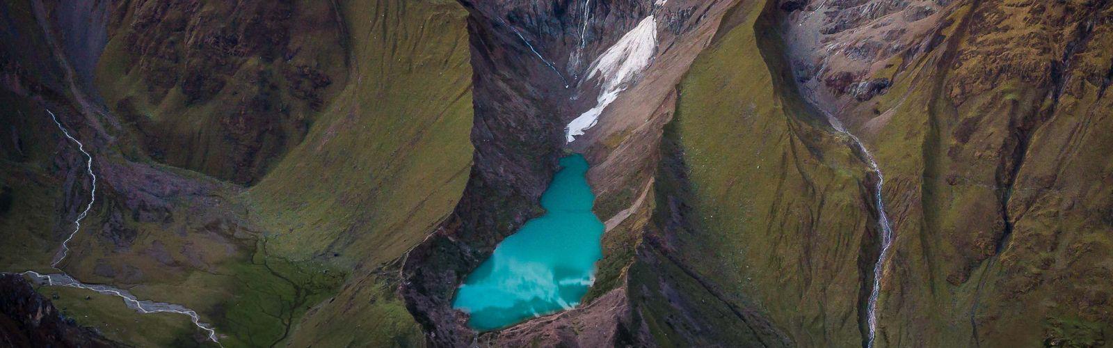 Glacier runoff from Nevado Salcantay feeding Laguna Humantay and the surrounding rivers. Taken in December 2018 near Cusco, Peru