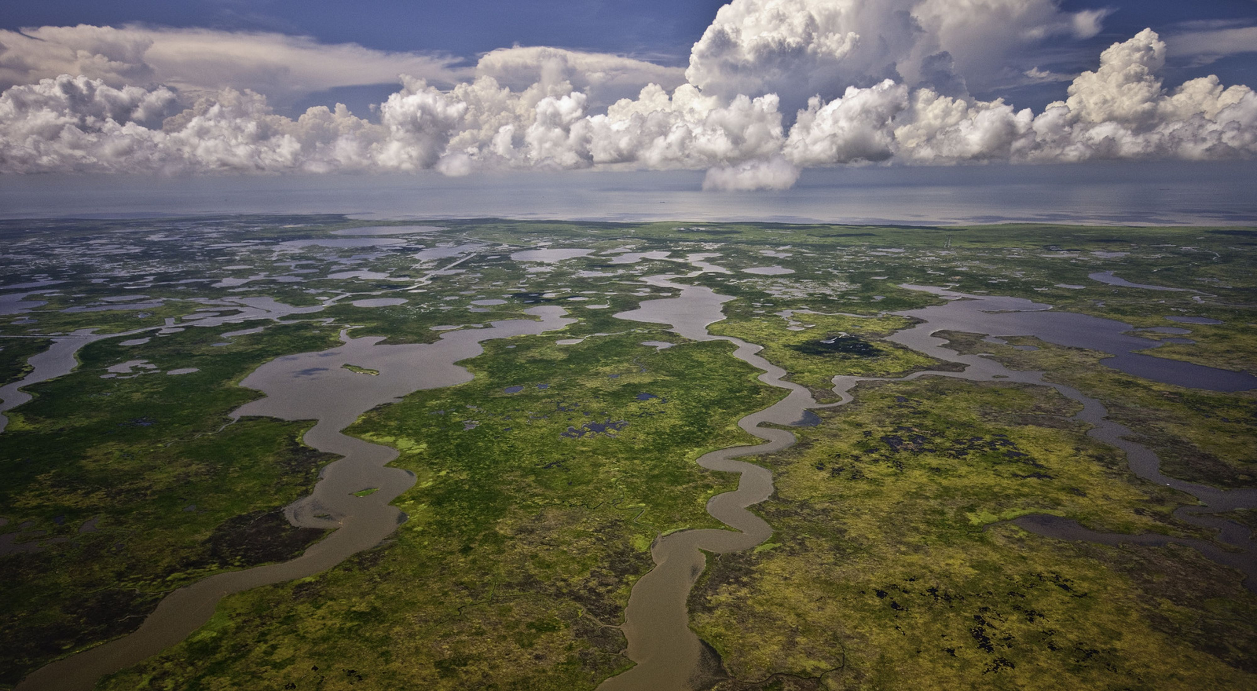 Aerial view of wetlands and marshlands that comprise the Mississippi River delta on the Louisiana Gulf Coast