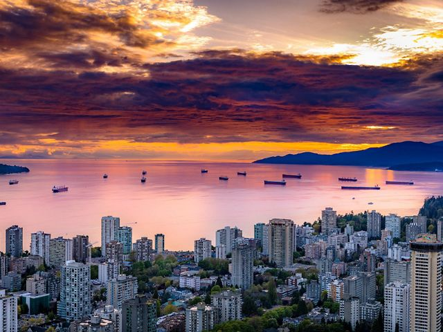 View of the English Bay in Vancouver, Canada at sunset.