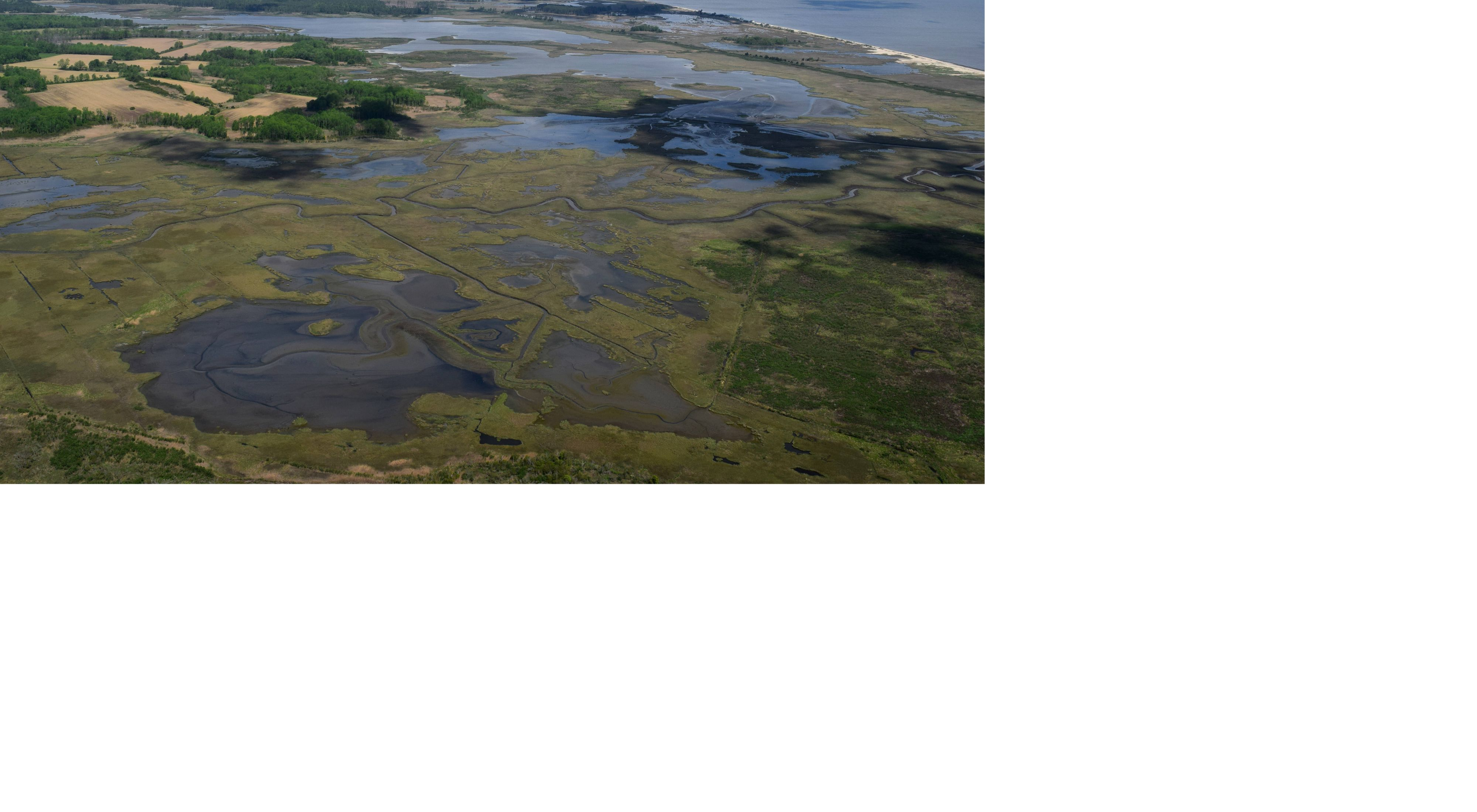 Aerial view of tidal marshlands at Milford Neck in Eastern Kent County Delaware.