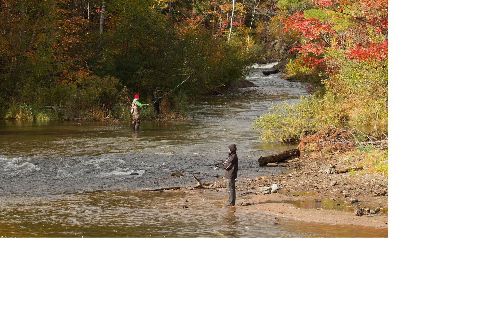 Fly fishermen in Marquette County, Michigan's Upper Peninsula.