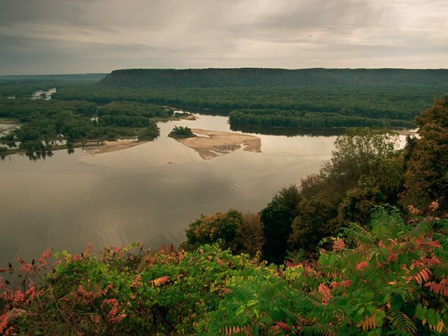 Looking east across the Mississippi River valley from Iowa towards Wisconsin near Prairie du Chein.