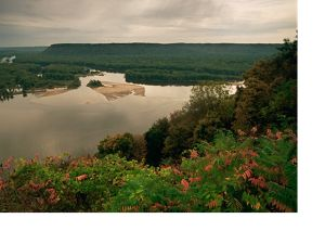 A river is surrounded by a forested landscape.