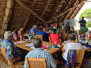 Members of the Maui Nui Makai Community Network gather in Hawaii for a meeting.