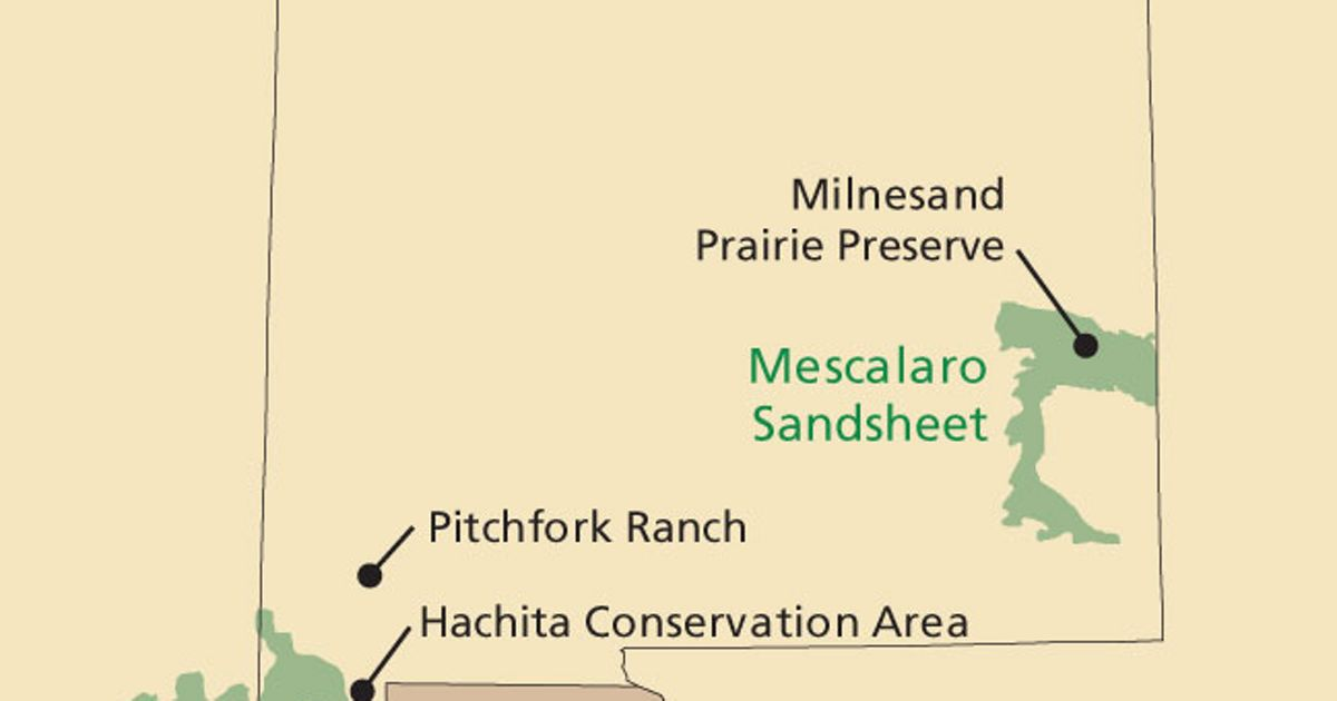 A map of the state's prairie and desert grasslands