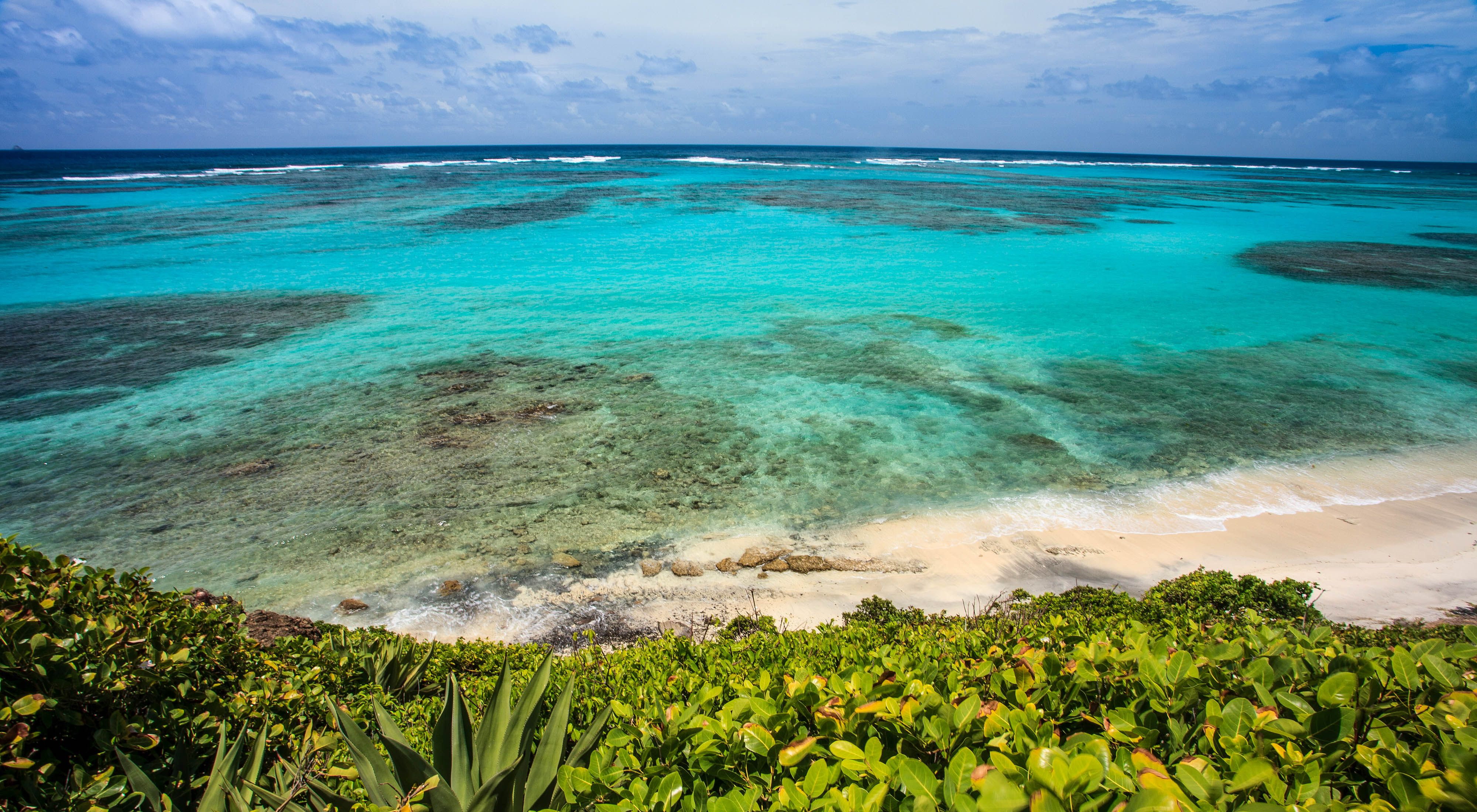 Coast in St. Vincent & the Grenadines fringed with shallow coral reefs that help protect the beaches.