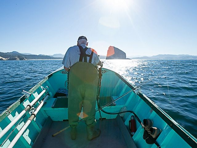 An Oregon fisherman heads out to the bay