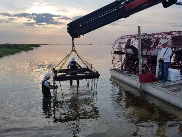 A frame for oyster reef restoration being lowered into the water by a barge-mounted crane.