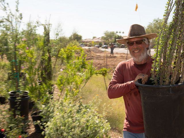 A man poses with a large plant in a black plastic pot that he's preparing to plant in the ground.