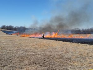 a controlled fire burns in an open field