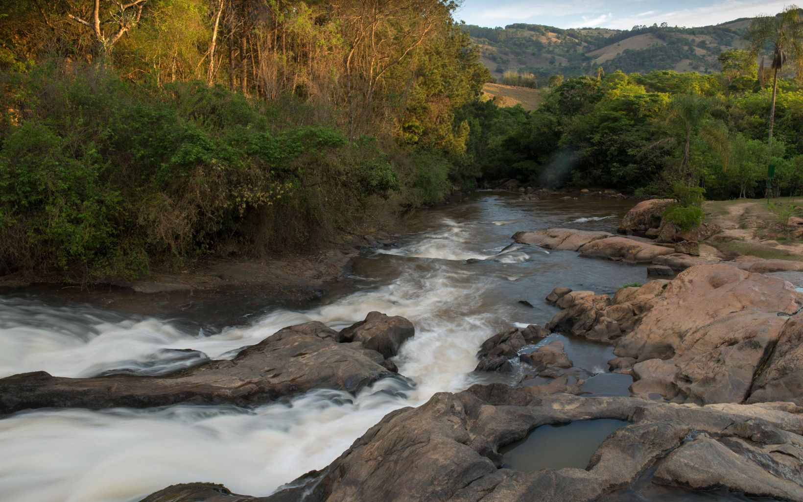 The Jaguari River's Salto Waterfall helps form the Cantareira reservoir system and provides water to more than 9 million people in greater Sao Paulo, Brazil.