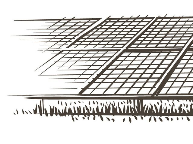 Sketch of solar panels