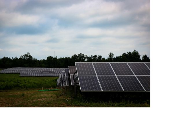Views of a solar farm in Elon, North Carolina
