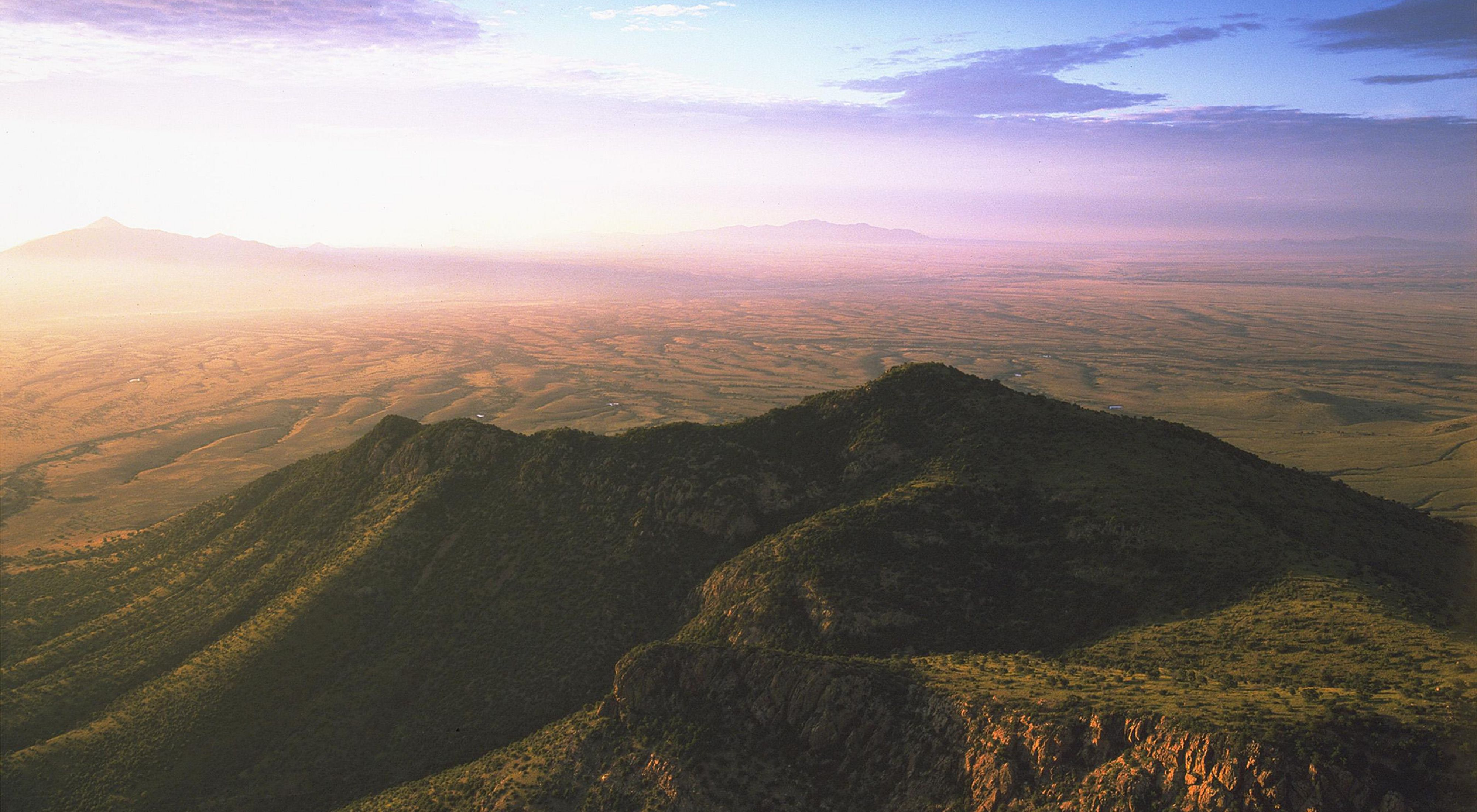 Aerial view of the southern Huachuca Mountains in Arizona.