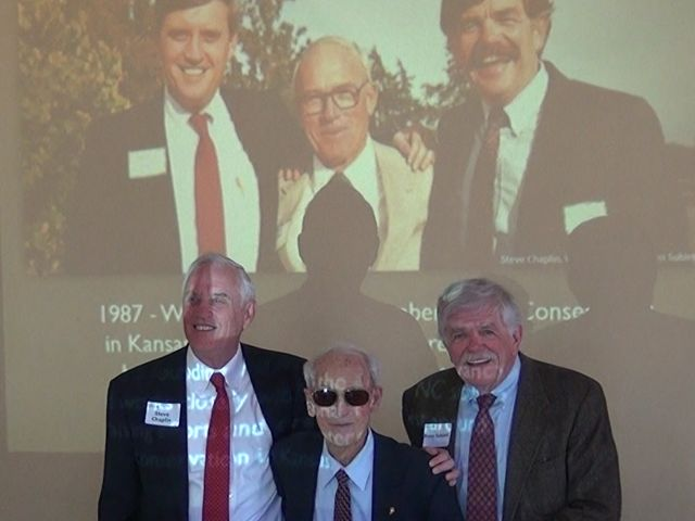 Steve Chaplin, Wayne Lebsack, and Ross Sublett in 1987 and reunited in April 2018.
