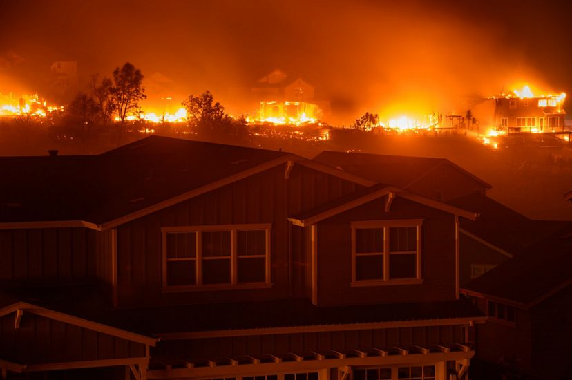 """The """"Glass Fire"""" burns homes and wildland in the Skyhawk Community in Santa Rosa, California on the night of September 27-28, 2020."""