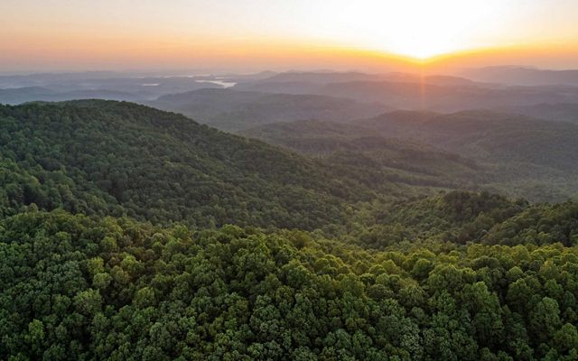 Sunrise aerial image taken near the border of Tennessee and Kentucky of land protected by The Nature Conservancy's Cumberland Forest Project.
