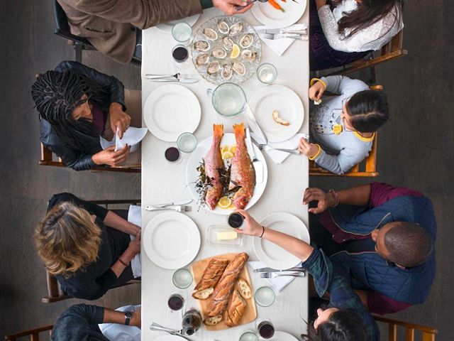 A table is set with foods grown or produced by some of the TNC partners who are working to make food more sustainable, New York City.