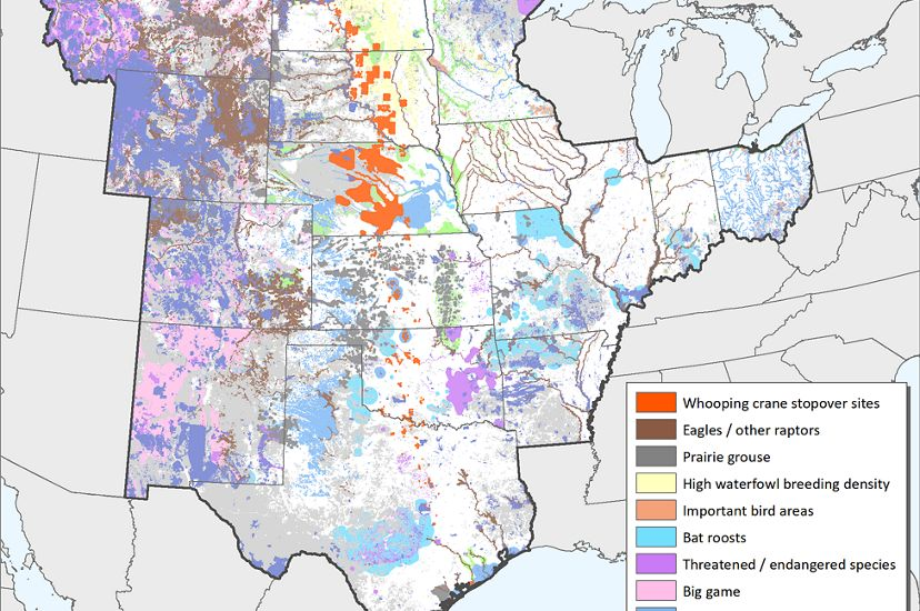 Image of map of central U.S. wildlife layer for Sight Wind Right.