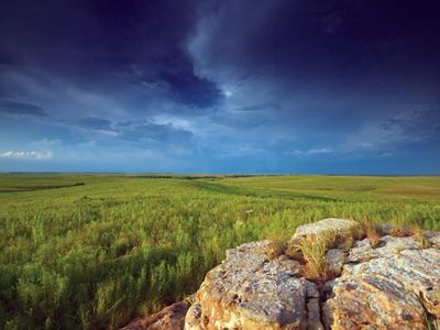 Dark and stormy sky above lush, green grasses and rock outcrop.