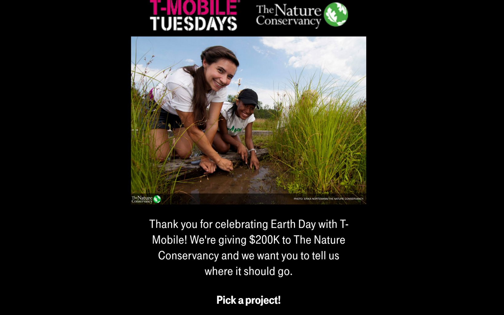 Screenshot of T-Mobile's in-app experience. T-Mobile customers and employees voted on which projects to support as part a $200K contribution to TNC on Earth Day 2018.
