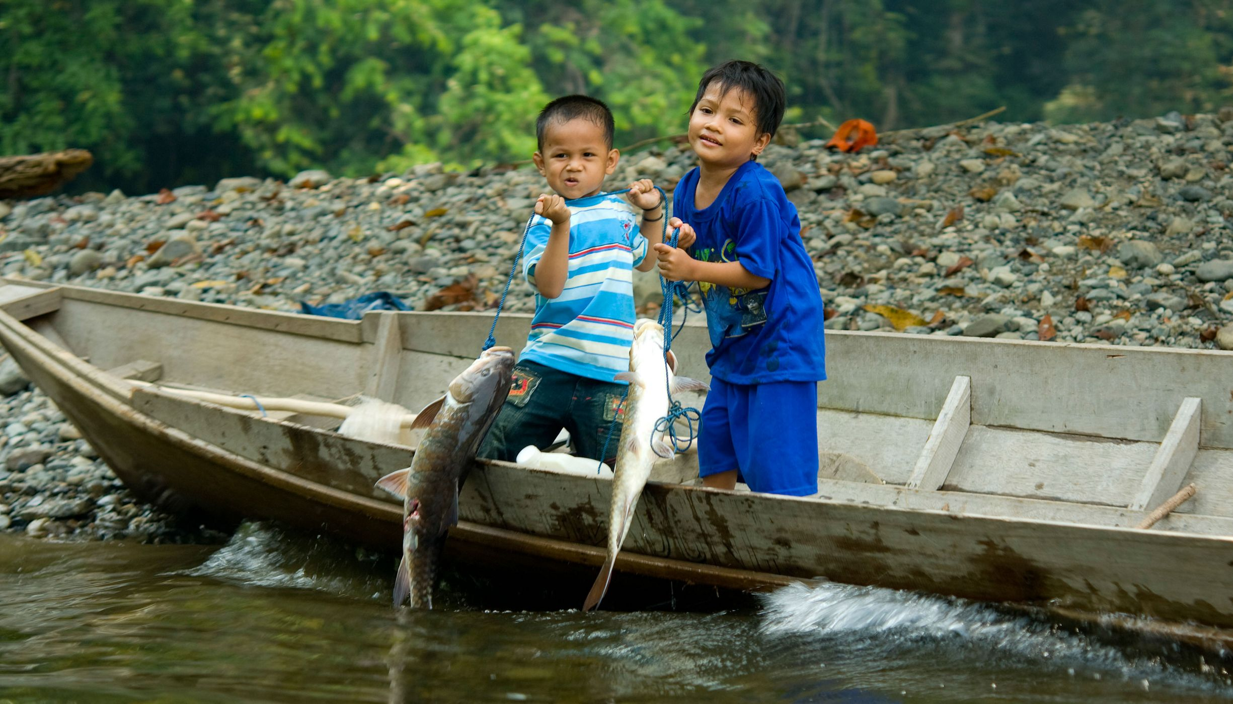 Village children display freshly caught fish at the Long Laay village on the banks of the Sagah River in the Bornean forest of the Berau district, East Kalimantan, Borneo, Indonesia. The Nature Conservancy is working with partners and villagers in the Bornean forests of the Berau district for reduced-impact logging. Surprisingly simple changes to how a company logs a forest can yield more intact forests, cleaner water, healthier and happier local villagers, and, on a global scale, more trees sequestering carbon and fighting climate change.