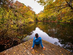 Woman in blue on a woode deck next to a pond.