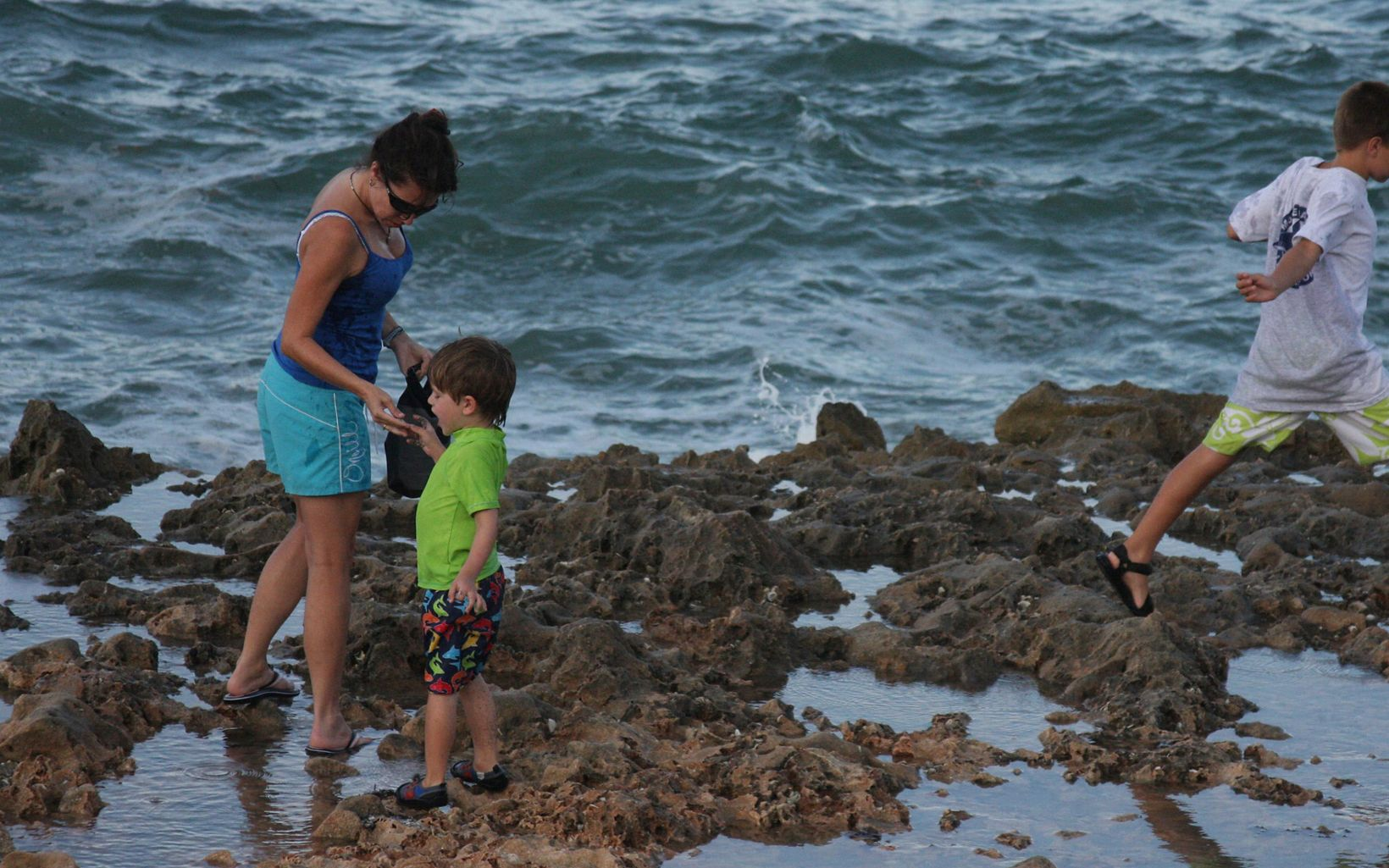 Family enjoying Blowing Rocks Preserve.
