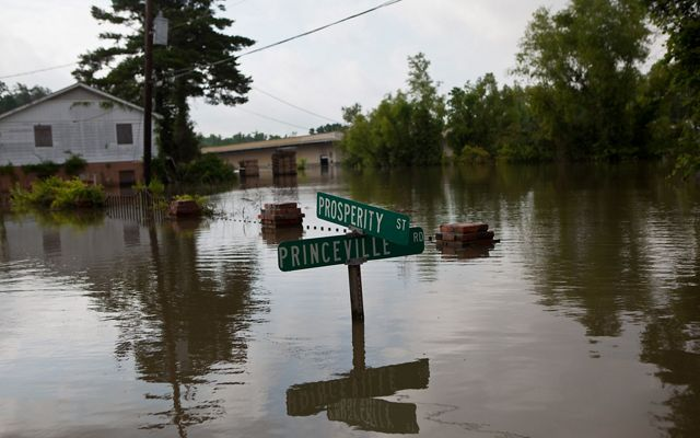 The flooded overflow banks from the Mississippi River in St. Francisville, LA.