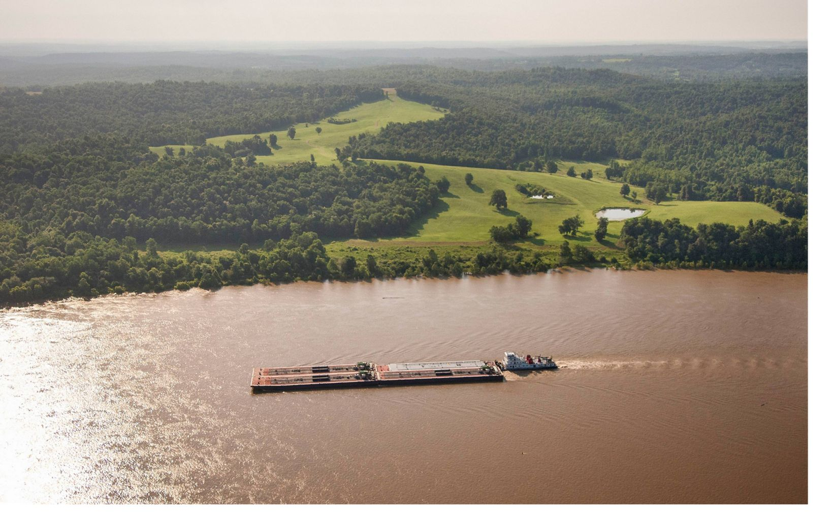 Barge on the Ohio River Near Kentucky's Big River Corridor Project