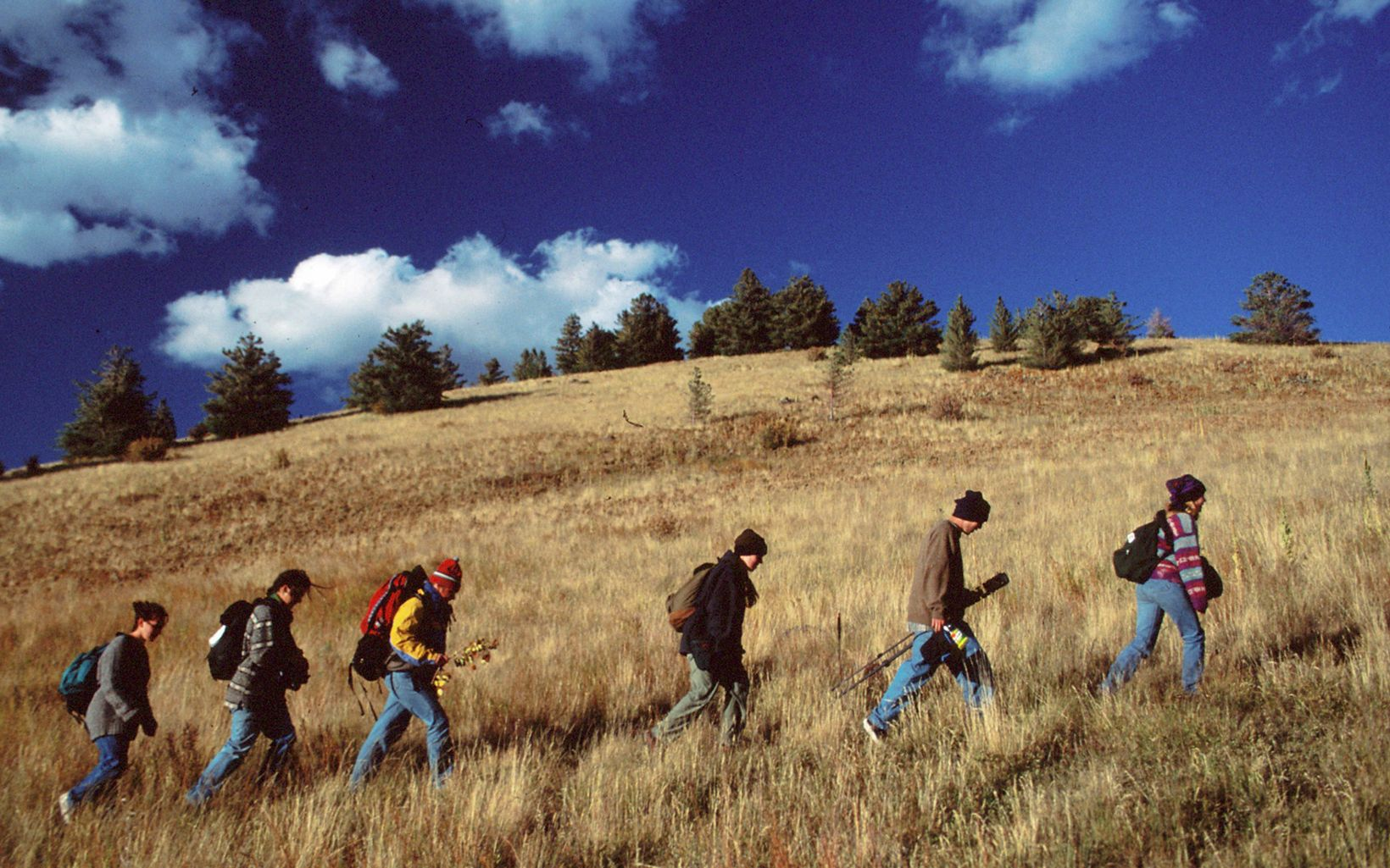 Five people hike up a grassy hillside carrying wildlife viewing equipment.