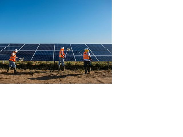 Workers in orange vests clean solar panels outside