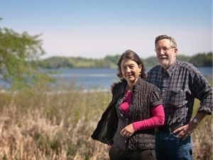 Legacy Club donors Bob Summers and Orly Yadin photographed near Burlington, Vermont