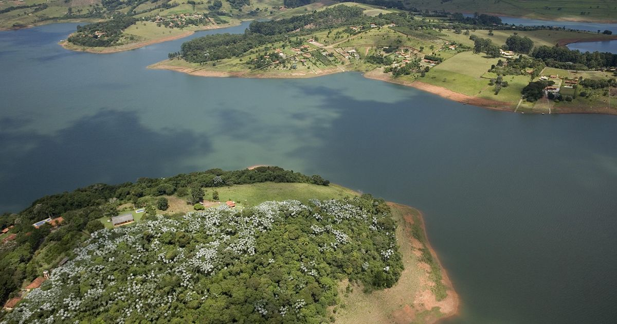 Aerial view of Jaguari Reservior, part of Brazil's Cantareira water system.