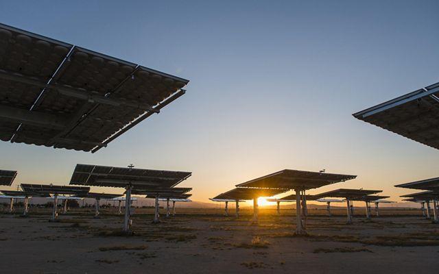 solar array at sunset
