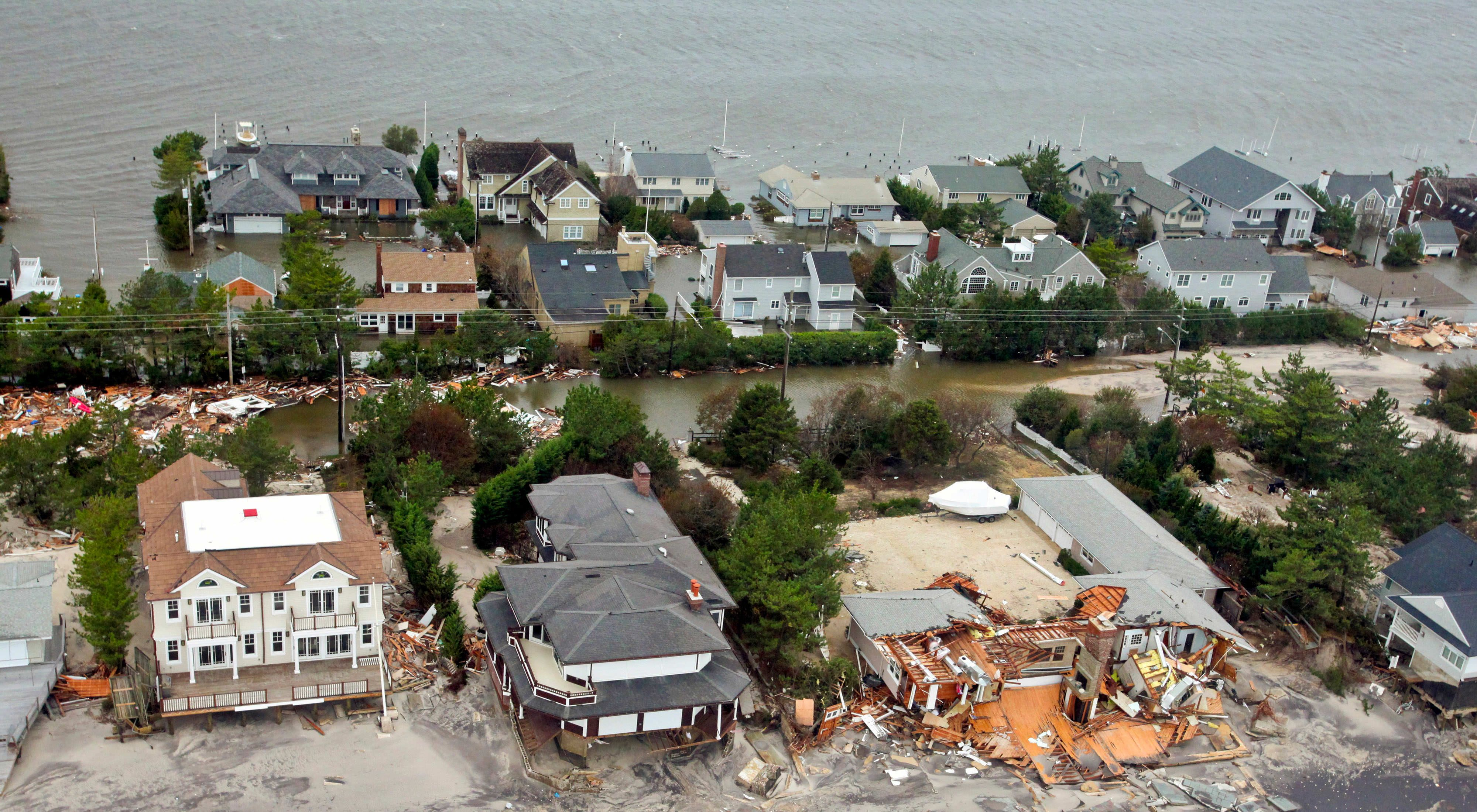 Aerial views of the damage caused by Hurricane Sandy to the New Jersey coast taken during a search and rescue mission by 1-150 Assault Helicopter Battalion, New Jersey Army National Guard, Oct. 30, 2012.