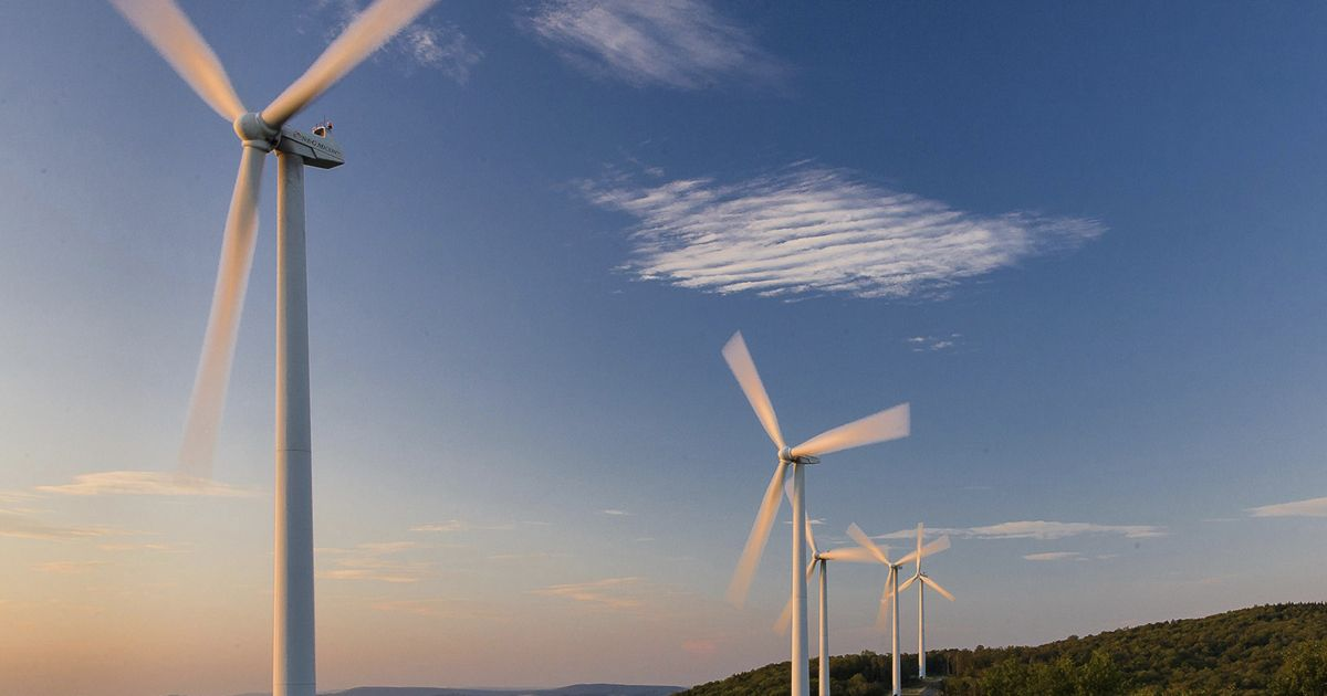 Wind turbines, West Virginia. Wind turbines are a growing source of electric power in the United States.