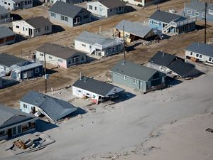 Coastal destruction caused by Hurricane Sandy.