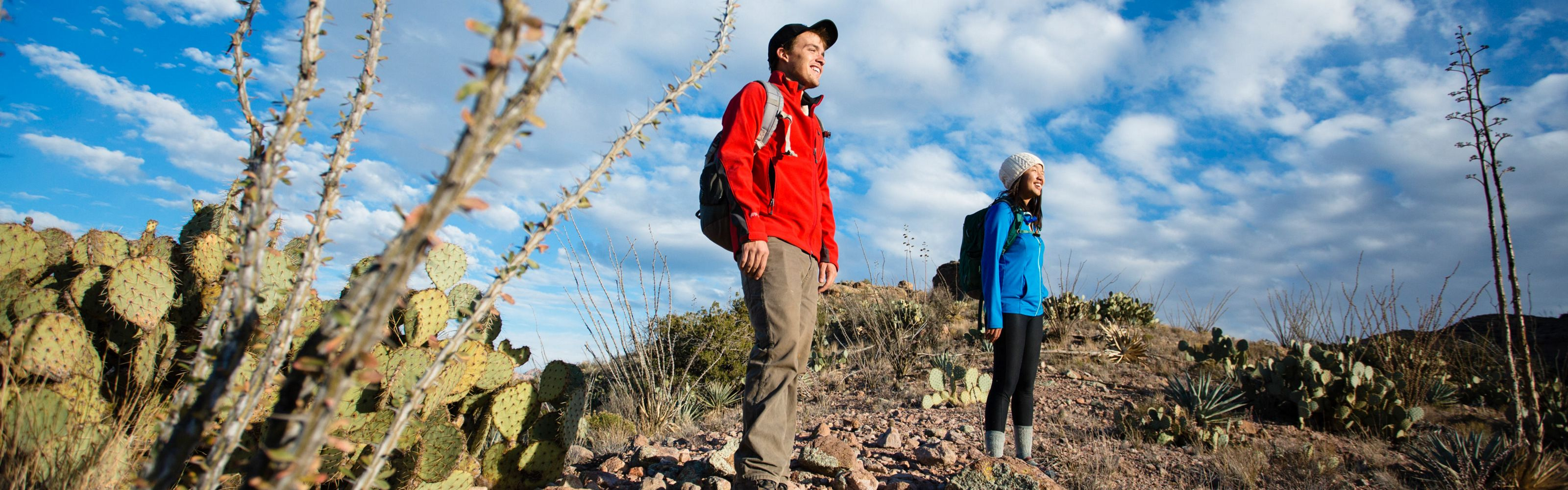 Two smiling people in hiking gear standing in a desert landscape with cactuses in the foreground.