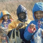 Three smiling youths in coats at a tree-planting event in Chicago.