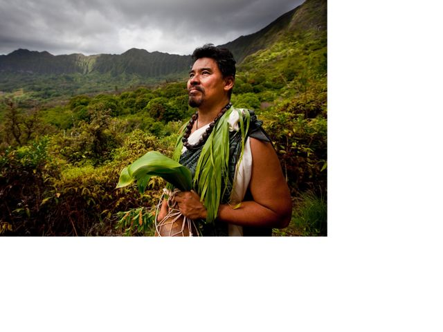 A Gon III, Senior Scientist and Cultural Advisor at the Nature Conservancy, Hawai'i Program, Maunawili Falls Trail, Oíahu, Hawai'i.