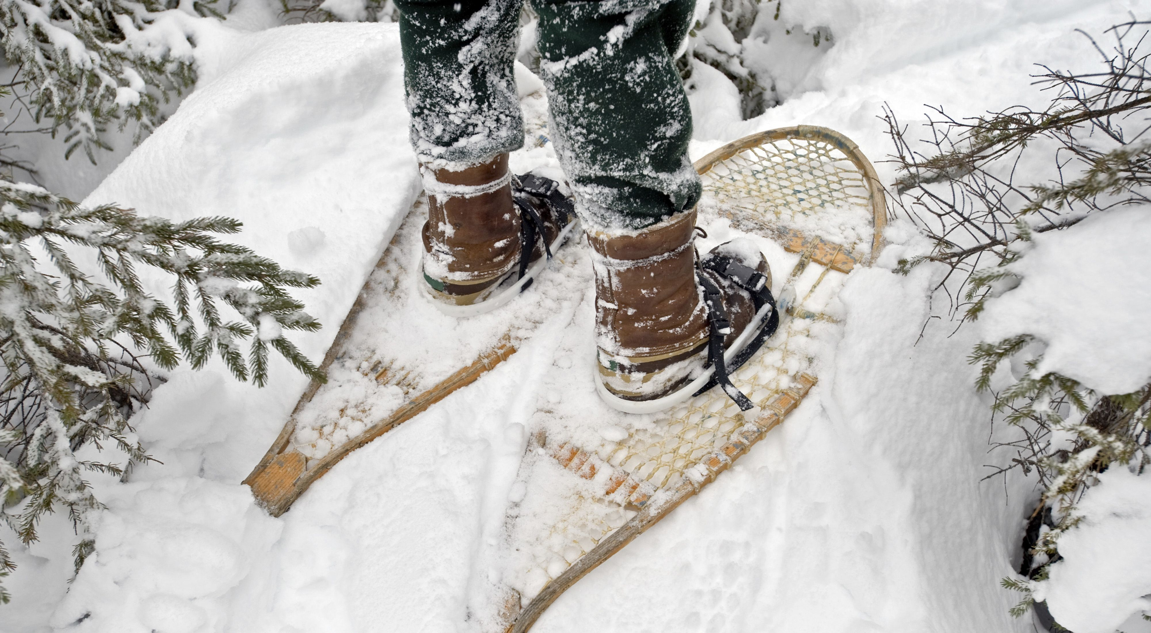 Close up view of feet in snow, wearing pair of sturdy boots and snowshoes.