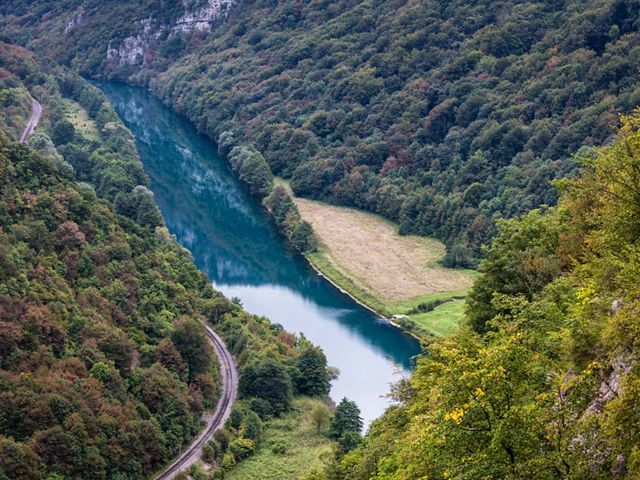 The Una River flowing through Bosnia. The river forms a natural border between Croatia and Bosnia-Herzegovina.